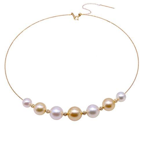 JYX Perlen-Choker-Halskette, AAA-Qualität, wunderschöne echte 9-13 mm, mehrere Größen, runde weiße und goldene Südsee-Zuchtperlen, Halsketten-Set für Frauen, 40,6 cm