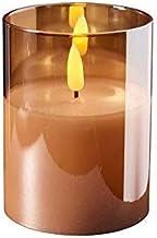 Hoogwaardige & elegante LED-kaars in glas - Timer - Realistisch flikkerend - Nieuw design (Amber, Hoogte: 10cm - Ø 7,5cm)