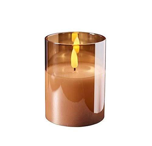 Hochwertige & Edle LED Kerze im Glas - Timer - Realistisch Flackernd - Inklusive AA-Batterien - Neuartiges Design (Amber, Höhe: 10cm - Ø 7,5cm)