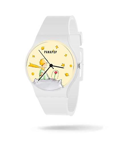 Panapop | B612 | Le Petit Prince | Damen-Armbanduhr | Weißes Silikonarmband | Der kleine Prinz | Offizielles Lizenzprodukt