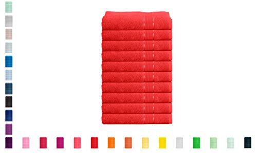 Mixibaby - Juego de 10 toallas de mano, 100 % algodón, 100 x 150 cm, color coral