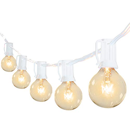 Brightown 50Ft G40 Outdoor Patio String Light-Connectable Globe Lights with 52 Clear Bulbs(2 Spare), UL Listed Backyard Lights for Indoor Commercial Decor, 50 Hanging Sockets, E12 Base, 5W Bulb, White