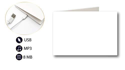 PlayMegram blanko Audio-Grußkarte mit USB Anschluss und 8 MB Speicher, Für Sprachnachrichten und Musik, Audiogrußkarte, Musikkarte, Geburtstag, Musik Geschenk, Kreative Geschenkidee
