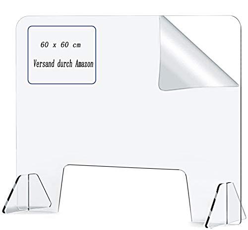 Aoweika Schutzwand Acrylglas - 60 x 60 cm Glasklar Schutzwand Thekenaufsatz | Hustenschutz Niesschutz Schutzwand Gesicht aus Acrylglas Platte