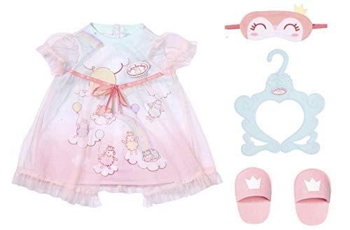 Baby Annabell 705537 Sweet Dreams Nachthemd - Kleidung für 43-cm-Puppen - Für Kinder ab 3 Jahren - Einfach für kleine Hände - Beinhaltet Nachtkleid, Hausschuhe, Schlafmaske und Kleiderbügel