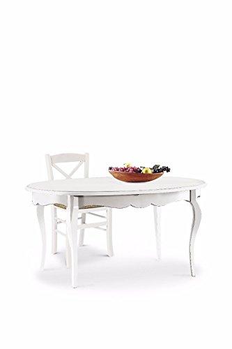 L'Aquila Design Arredamenti Classico Tavolo da Pranzo Shabby Chic Bianco Ovale allungabile con intarsio 160x110 1289