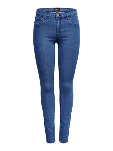 ONLY Damen onlRAIN REG CRY5055 NOOS Skinny Jeans, Blau (Medium Blue Denim), 36W / 30L