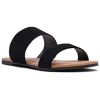 Charles Albert Double Strap Sandals for Women Comfortable Vegan Flip Flops Black 8