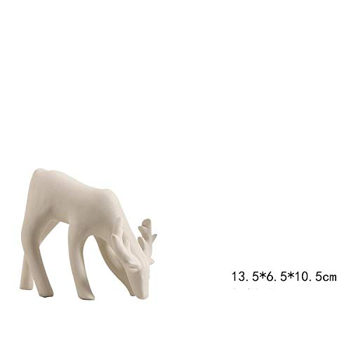 hacpigbb Ciervos De Cerámica Estatua Blanca Artesanías Creativas Decoración del Hogar Regalos Pintados A Mano para El Estudio De La Sala De Estar del Dormitorio - Modelado 1