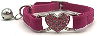Pettop Cute Love Heart Velvet Cat Collar with Pet Bling Rhinestone Heart Charm Collar with Elastic Adjustable Safety Belt ...
