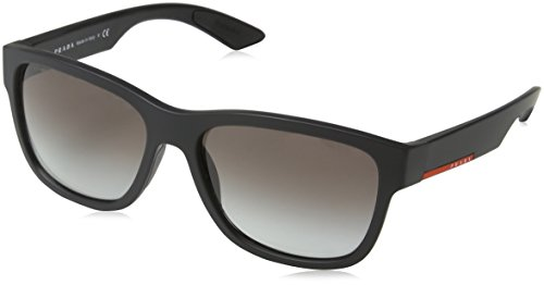 Prada Sport Heren 0PS03QS DG00A7 57 Zonnebril, Zwart (Black Rubber/Grey)