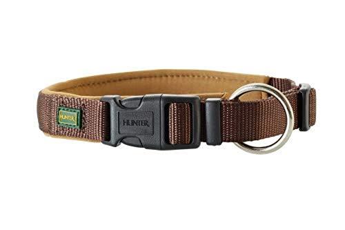 HUNTER NEOPREN VARIO PLUS Halsung, Hundehalsband, Nylon, mit Neopren gepolstert, 50/2,5 (M-L), braun/karamell