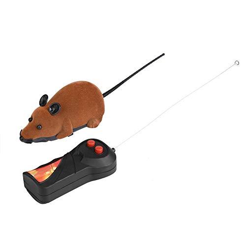 HEEPDD Ratón inalámbrico de Control Remoto, simulación de Ratas Falsas para Ratones RC Toy Cat Chew Chew Toys for Cats Kitty Kitten Novedad Regalo (batería no incluida) (marrón)
