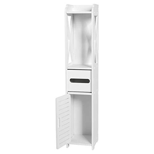 Estink Badezimmerschrank Schmal, Toilettenschrank klopapierhalter WC Möbelschrank, aus Holz-Kunststoffplatte, 80 x 15,5 x 15 cm, Weiß