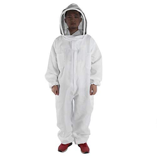 HBBDYZ Männer Imker Bee Anzug Baumwolle in voller Körper mit Schleier Hood Bienenzucht Folding-Hut und den Reißverschluss Schutz Bienenzucht Anzug,Weiß,XXL