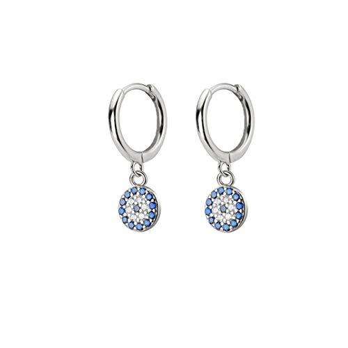 925 Sterling Silber Runde Gold Blaue Augentropfen Ohrring Hochwertige Runde Cz Zirkon Luxus Evil Ohrring Schmuck Silber