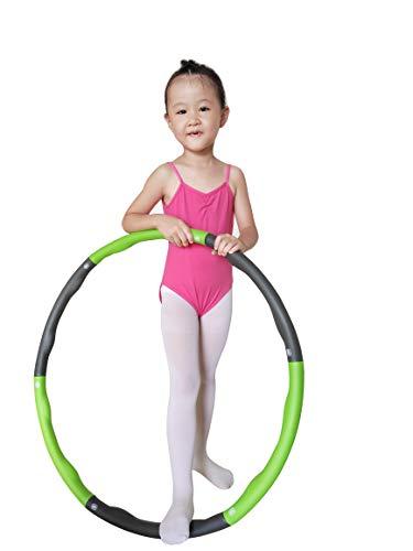 N/D Anillos de gimnasia de plástico aros de juguete Yoga Fitness ejercicio deportes círculo para niños adultos equipo de entrenamiento plegable para damas hula aro (amarillo y gris, M-grande)