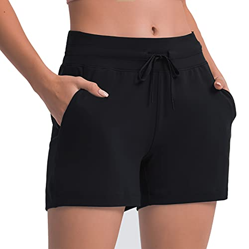 Lushforest Women's Stretch Lounge Travel Shorts Elastic Waist Comfy Workout Running Athletic Shorts with Pockets Black