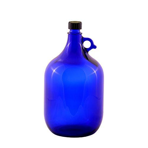 Botella de cristal de 5 litros, azul, decoración, flor de la vida, botella de cristal azul con cierre de rosca y asa.