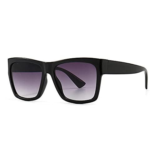 DLSM Gafas de Sol de gradiente Cuadrado de la Vendimia Moda Plana Top Gafas topes UV400 Retro Tendencia de los Hombres Gafas de Sol adecuadas para la conducción al Aire Libre de la Fiesta-Gris Negro