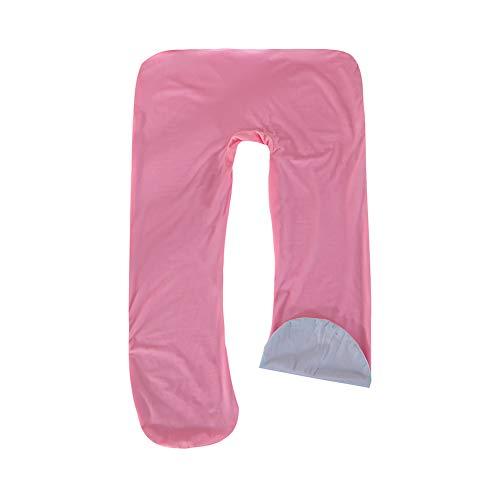 Funda de Almohada de Maternidad, Funda de Almohada Corporal Suave Funda de Almohada en Forma de U fácil de Instalar Funda de Almohada Lavable a Máquina (Rosado Azul)