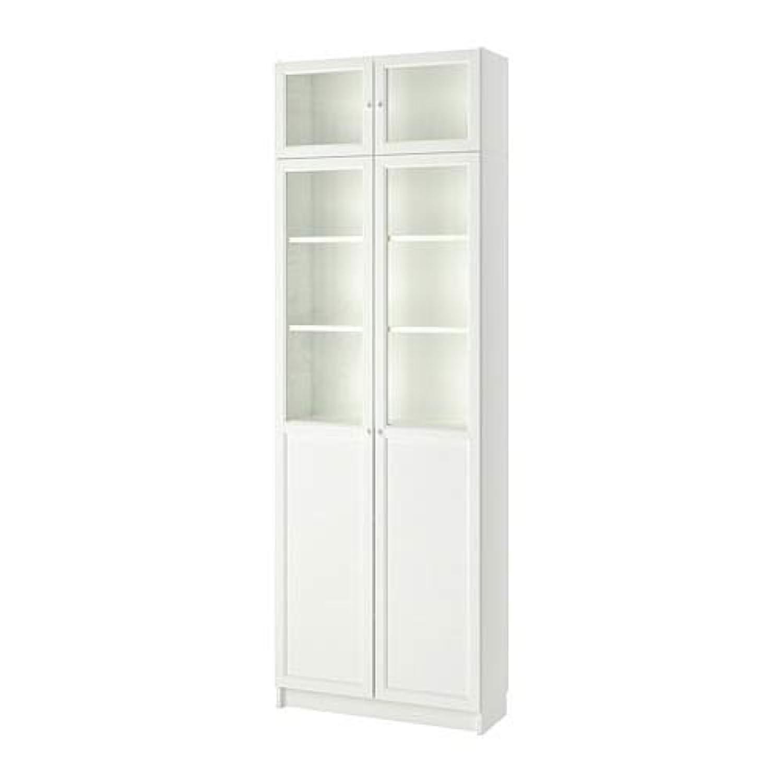 バイアススタウトだますBILLY ビリー 書棚 上部追加ユニット/パネル/ガラス扉付き, ホワイト 092.873.47