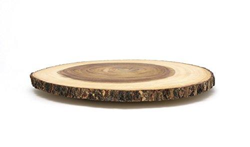 Lipper International Acacia Wood Large Slab Lazy Susan with Bark Rim