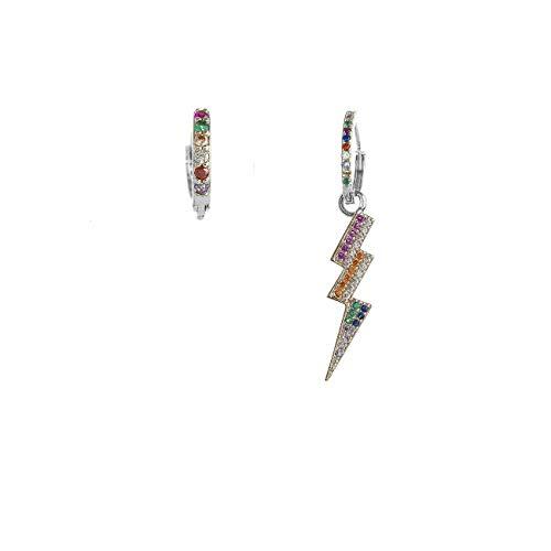 Inscantille Sparkling Pop - Pendientes de aro con flecos y brillantes de colores plateado