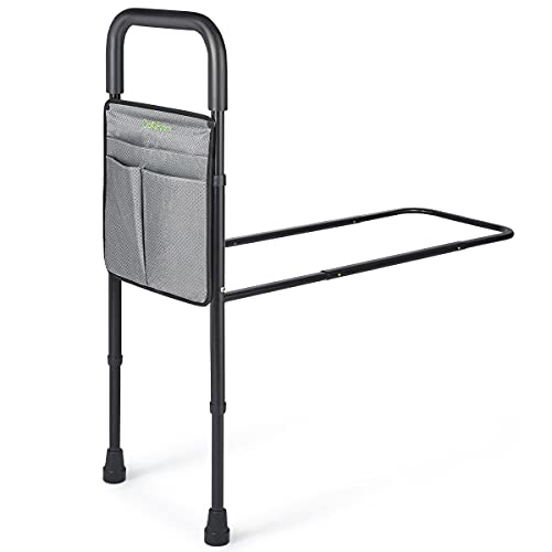 OasisSpace Bed Assist Rail - Bed Assist bar with Storage Pocket - Adjustable Bed Rails for Seniors, Elderly, Handicap - Assistance for Getting in & Out of Bed at Home - Fit King, Queen, Full, Twin