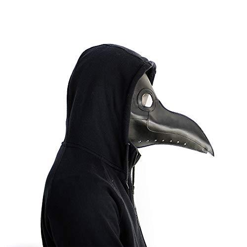 Umiwe Plague Doctor Mask, Halloween Scary Maske Pest-Maske Doktor Arzt Kopfmaske Party Fasching Cosplay Venedig-Maske Karneval PU Verkleidung - Ostern Maske