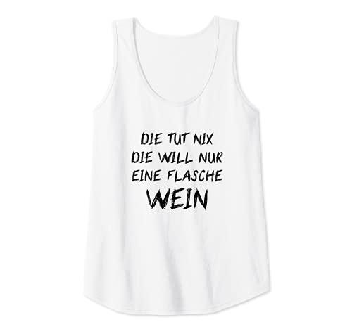 Mujer Die Tut Nix Die Will Nur Weinliebhaberin Vino tinto Mujeres Camiseta sin Mangas