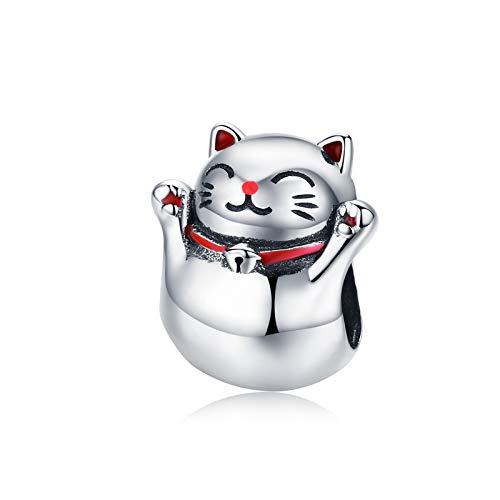 LaMeanrs - Charm in argento Sterling 925, collezione animali, ciondolo per braccialetti e collane da donna e Argento, colore: Maneki Neko Cat, cod. LA-Animals