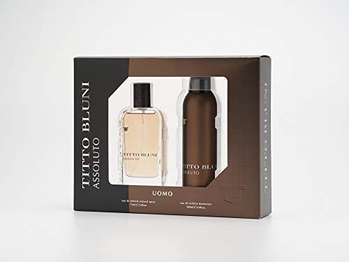 Titto Bluni - Assoluto Estuche de Regalo para Hombre, Eau de Toilette 75 ml y Desodorante en Spray 200 ml