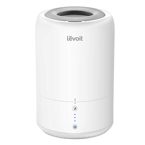 LEVOIT Top Fill Humidifier, BPA Free, Ultrasonic Cool Mist Humidifier for Bedroom Baby; Quiet Essential Oil Diffuser; Smart Sleep Mode, No Filter, 3 Mist Levels, Waterless Auto Shut Off, 1.8L