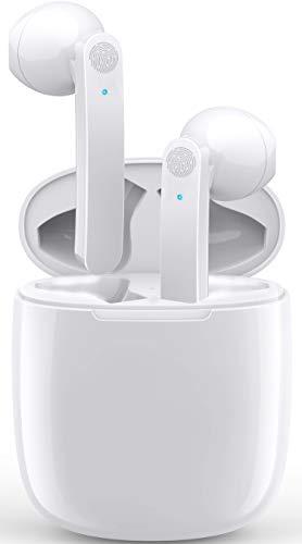 Auriculares Inalámbricos Bluetooth 5.0 Audífonos Inalámbricos Impermerable con Micrófono Incorporado Estuche de Carga, Portátil y Táctil Mano Libre para iPhone Samsung Huawei Xiaomi