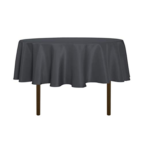 sancua Round Tablecloth - 60 Inch - Water Resistant Spill Proof Washable Polyester Table Cloth Decorative Fabric Table Cover for Dining Table, Buffet Parties and Camping, Grey
