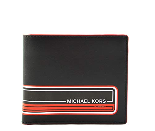Michael Kors Men's Kent Leather Wallet, Black Crimson
