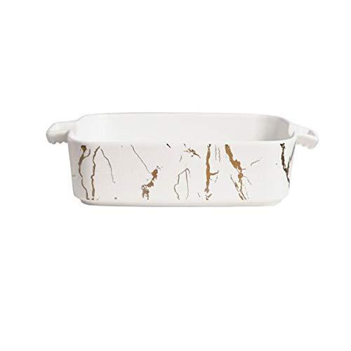 Plat de cuisson, plateau de cuisson en céramique, marbre de haute qualité, convient au four domestique, four à micro-ondes, porcelaine blanche (Color : White, Size : 9.8 * 8 * 2 inches)