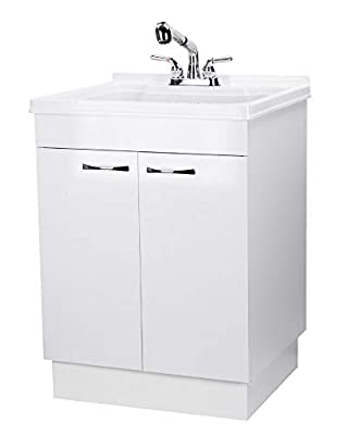 Laundry Cabinet Kit With Pull-Out Faucet, White Utility Vanity Sink Perfect for Your Mud Room, Laundryroom, Kitchen, Bathroom, or Garage, Large Free Standing Wash Station Storage Tubs and Drainage