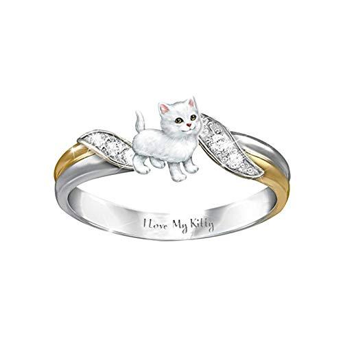 Ruby569y Bonito anillo de dos colores con diamantes de imitación para mujer, anillo de dedo dulce para fiestas, parejas, bodas, Navidad, accesorio de joyería romántica, regalo de color blanco