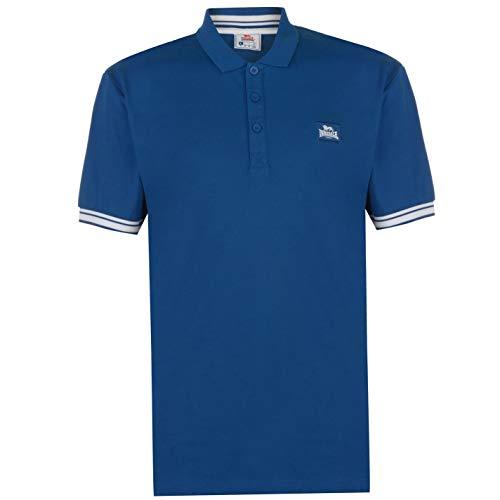 Lonsdale Herren Jersey Polo Shirt Kurzarm Marineblau/Weiß M
