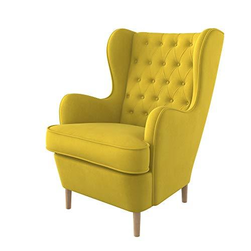 Furninero - Ohrensessel, Flügelstuhl, Flügel Sessel, tiefer gepolsterter, Chesterfield-Stil, gerundete Beine Majestic Velvet Yellow Stoff, Majestic Velvet Yellow Stoff