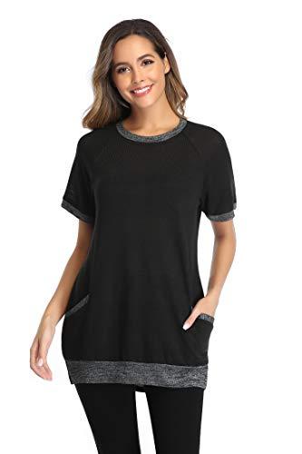 iChunhua Plus Size Tshirt Womens Round Neck Plain Short Blouses Cotton T Shirts Plus Size Black XL