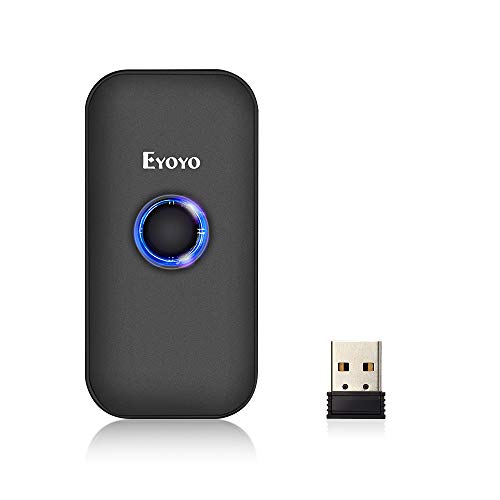 Eyoyo Mini 1D Bluetooth Barcode Scanner, 3-in-1 Bluetooth & USB Wired & 2.4G Wireless Barcode Reader Portable Bar Code Scanning Work with Windows, Android, iOS, Tablets or Computers barcode handheld scanner