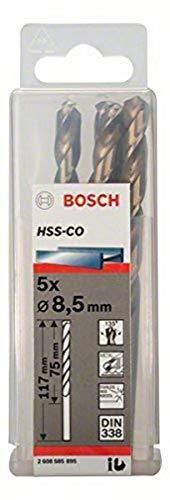 Bosch 2 608 585 895 - Pack de 5 brocas metálicas HSS-Co, DIN 338 (8,5 x 75 x 117 mm)