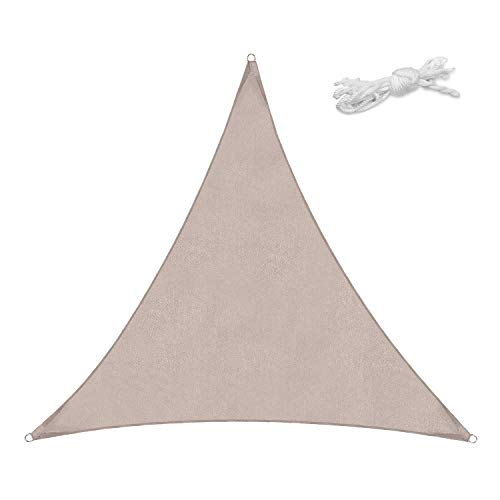 Sekey16' x16' x16' Triangle Sun Shade Sail PES Polyester Waterproof UV Block Weather Resistant Durable Perfect for Outdoor Patio Garden Yard Backyard, Taupe