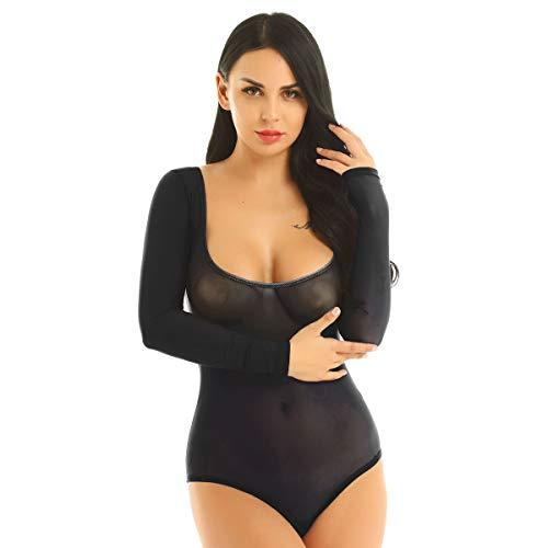 inhzoy Damen Transparent Bodysuit Langarm Mesh Overall Trikot Top Frauen Einteiler Gymnastikanzug Tanzkostüm Bauchtanz Schwarz One Size