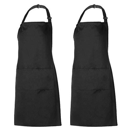 esonmus Schürze, Wasserdicht Kochschürze Küchenschürze 2 Set mit 2 Taschen Latzschürze kochschürze für Frauen Männer Chef erstellbarem Nackenband Schwarz