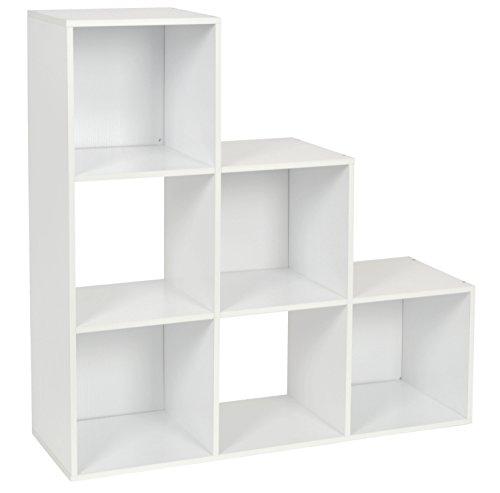 ts-ideen Estantería en Escalera Librero CD-DVD Madera Blanco 90 x 90 cm