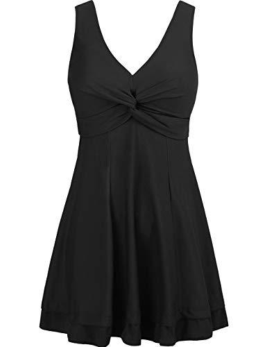 Wantdo Women's One Piece Swimsuit with Skirt Plus Size Swimwear Cover Up Black US 18W-20W
